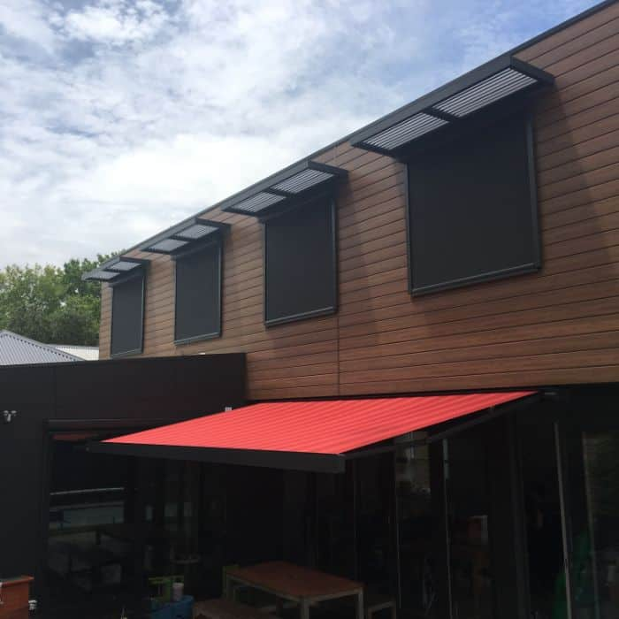 External Blinds and folding arm awning