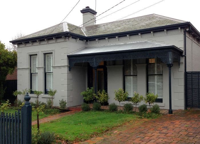 Exterior of Melbourne Victorian era home with Plantation shutters
