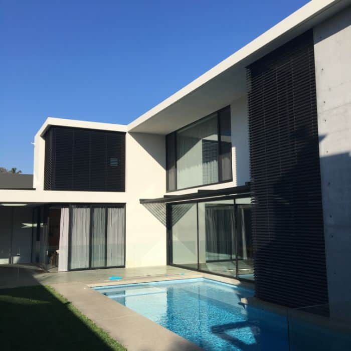 Modern home showing exterior view of external venetians