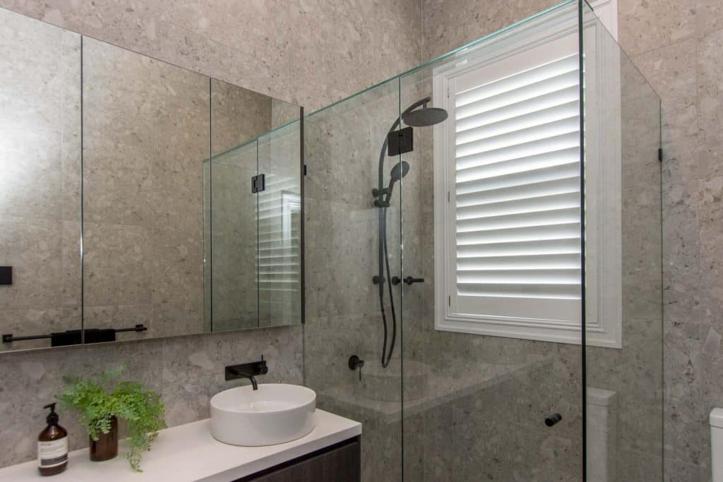 Norman Woodlore waterproof Plantation Shutters in renovated bathroom of Prahran Edwardian Home