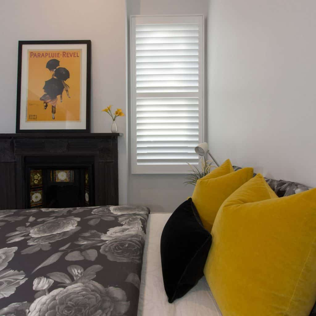 Norman Plantation Shutters in edwardian renovated bedroom