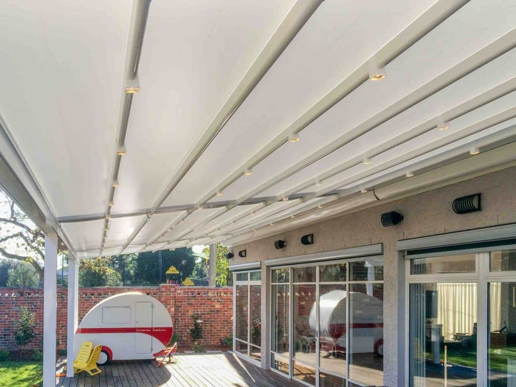 Motorised Roof Awning over deck of Melbourne home