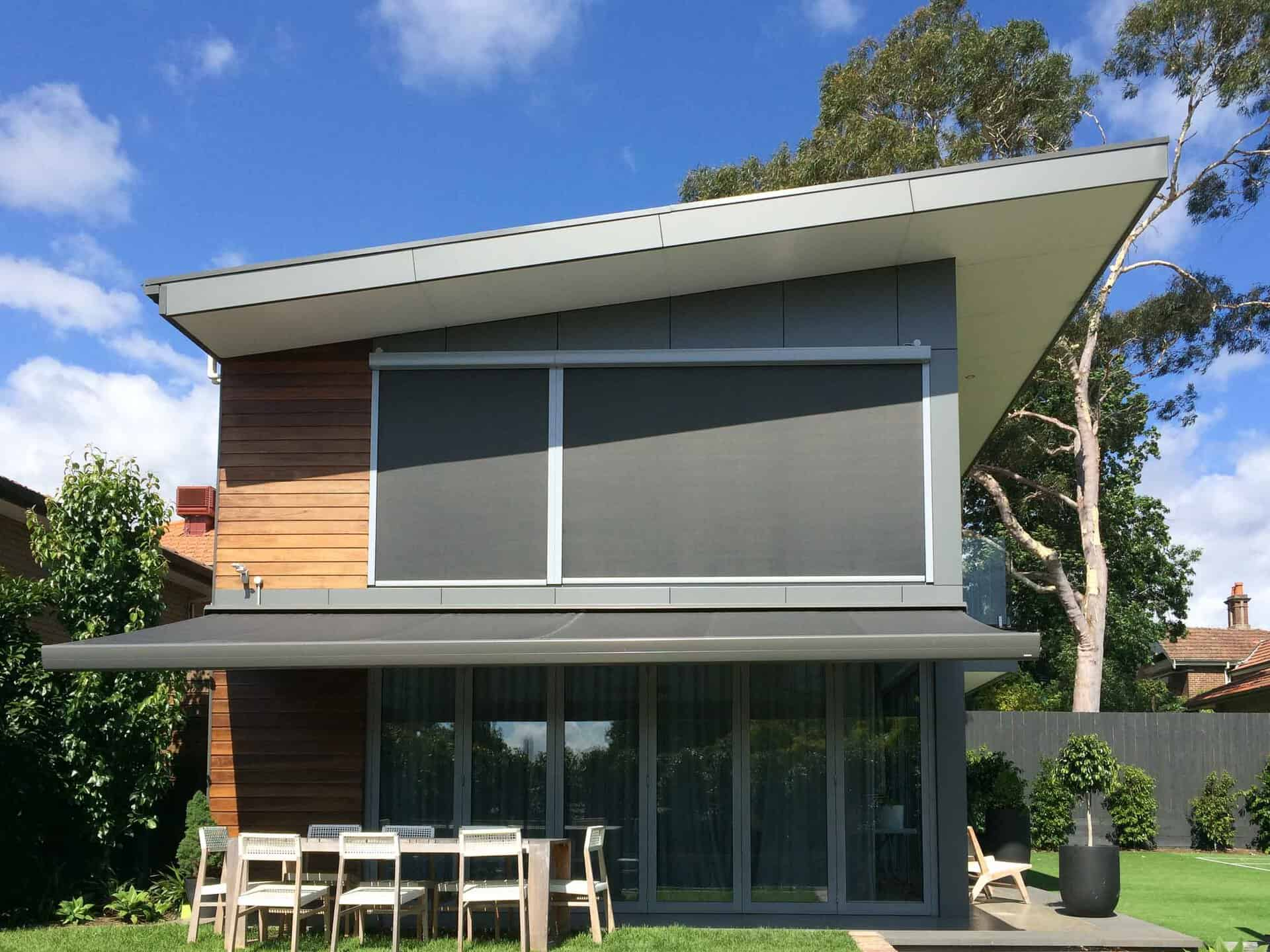 Motorised External Blinds and Awning on Melbourne home