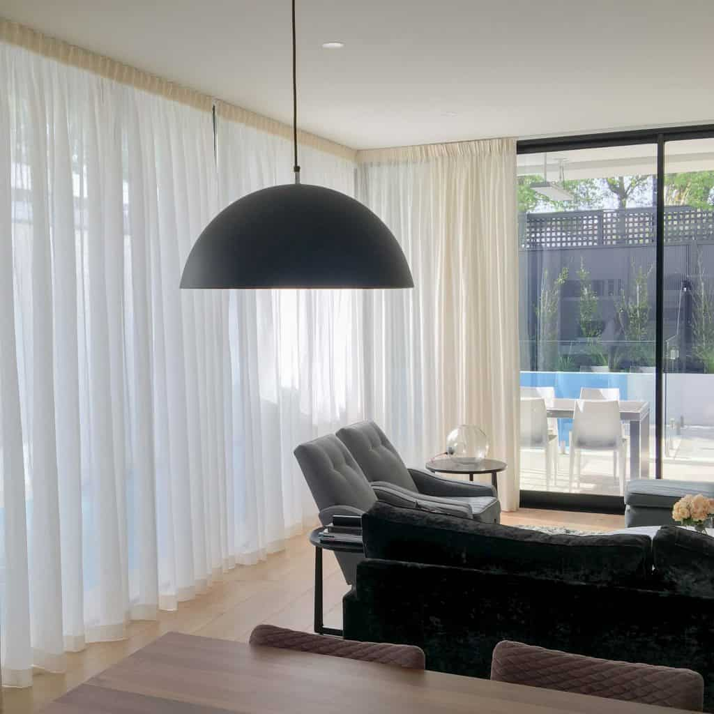 Sheer curtains in Melbourne living room