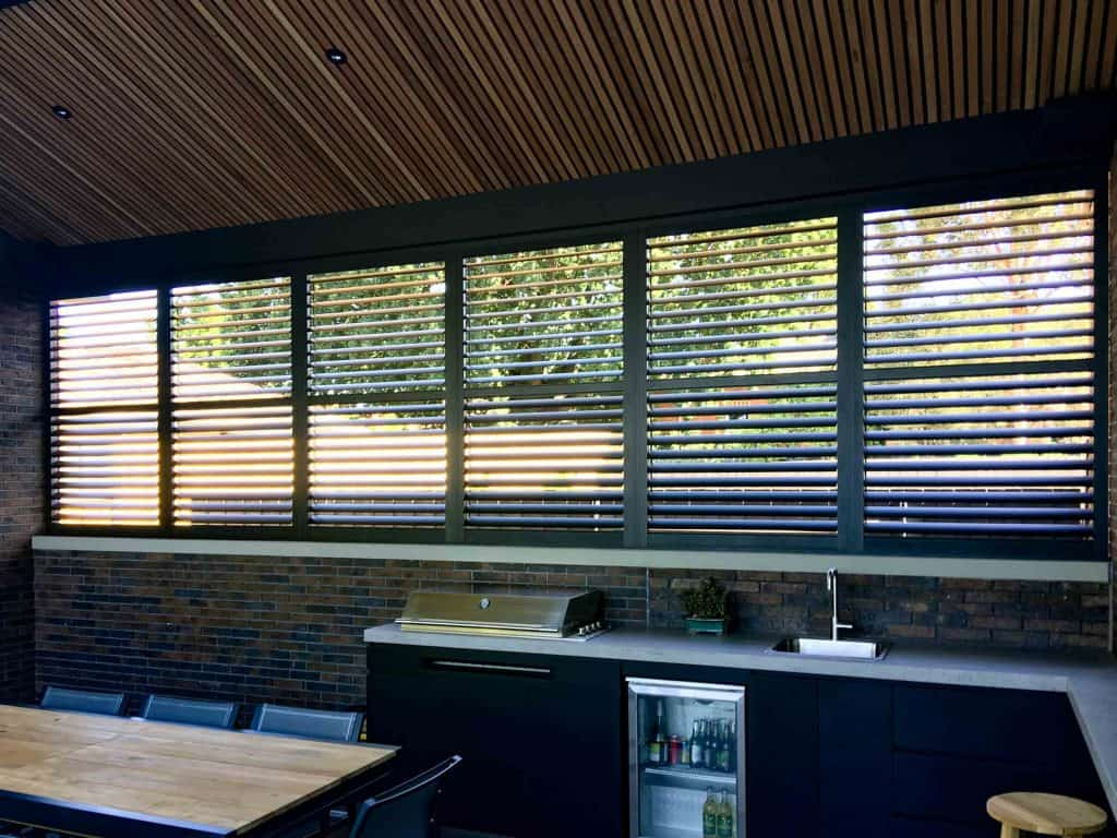 Plantation Shutters in Outdoor living area