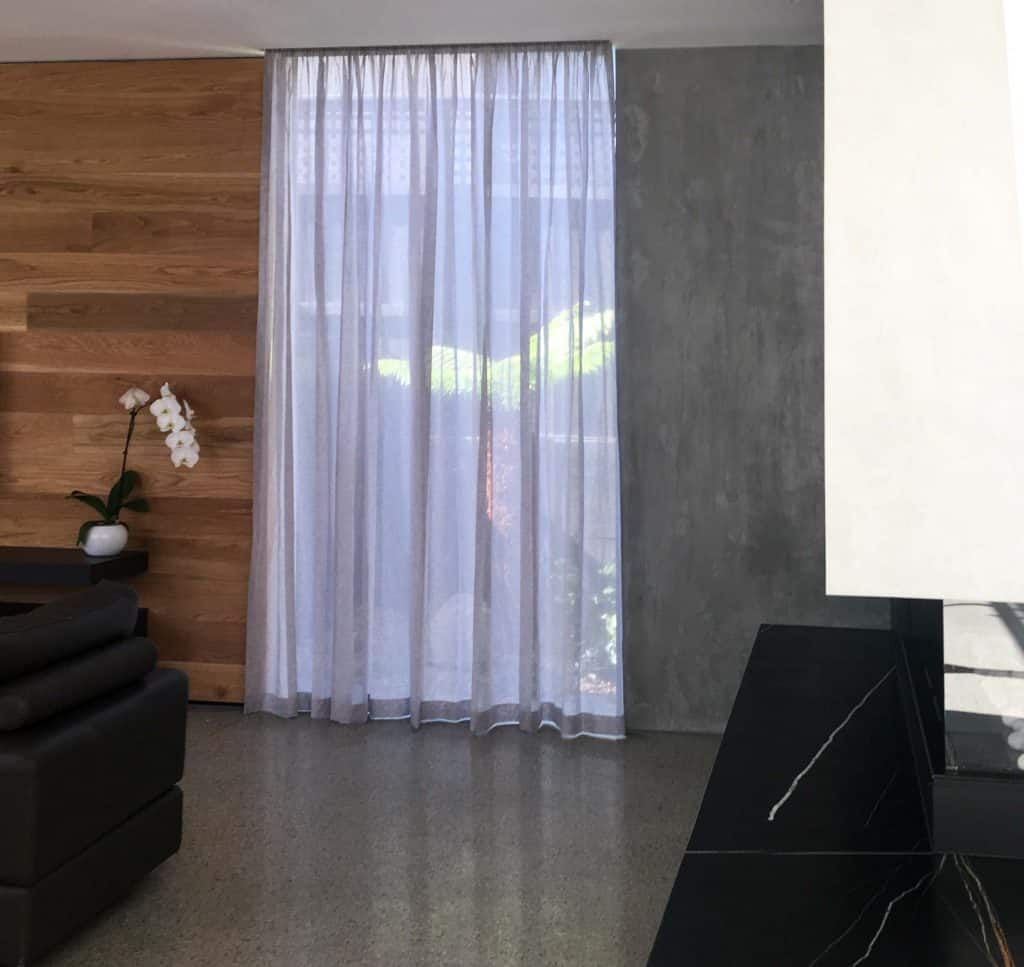 Sheer curtains in recessed ceiling pelmet
