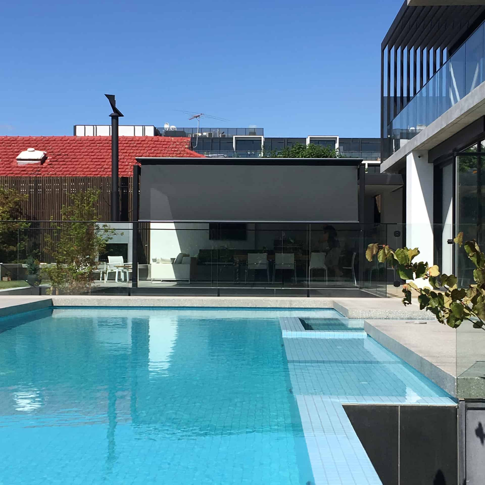 Markilux retractable roof awning over outdoor entertaining area of Melbourne home